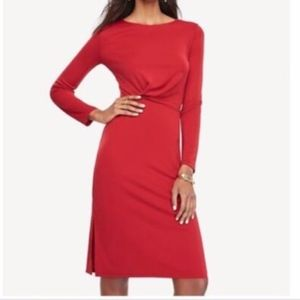 Ann Taylor Long Sleeve Draped Jersey Sheath RED